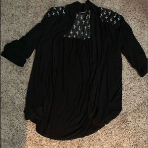Camisole w/crosses, black and flowy. Cute w/jeans